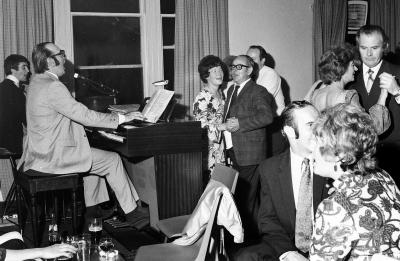John Hay, music teacher at Preston Lodge High School in full flow 1972 (Gordon Collection)