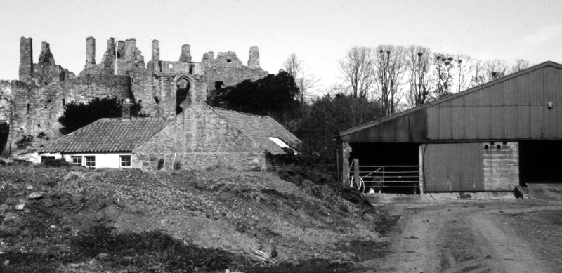Castlemains farm with Dirleton Castle behind.